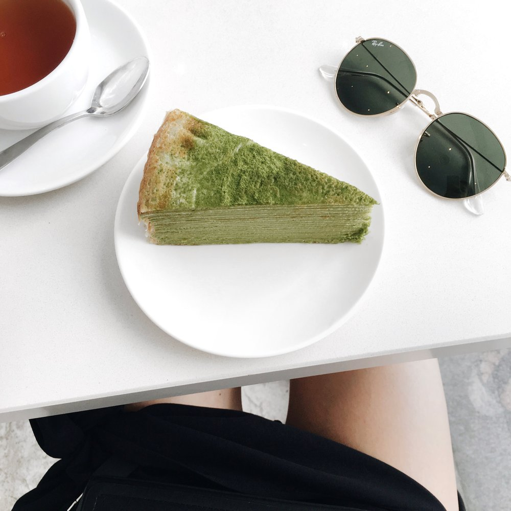 Matcha crepe cake at Lady M.