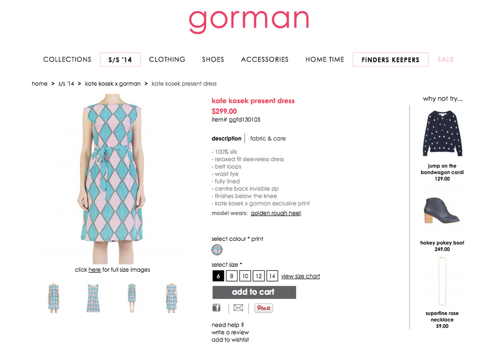 GORMAN X KATE KOSEK: PRESENT DRESS