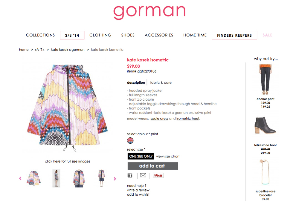 GORMAN X KATE KOSEK: ISOMETRIC RAINCOAT