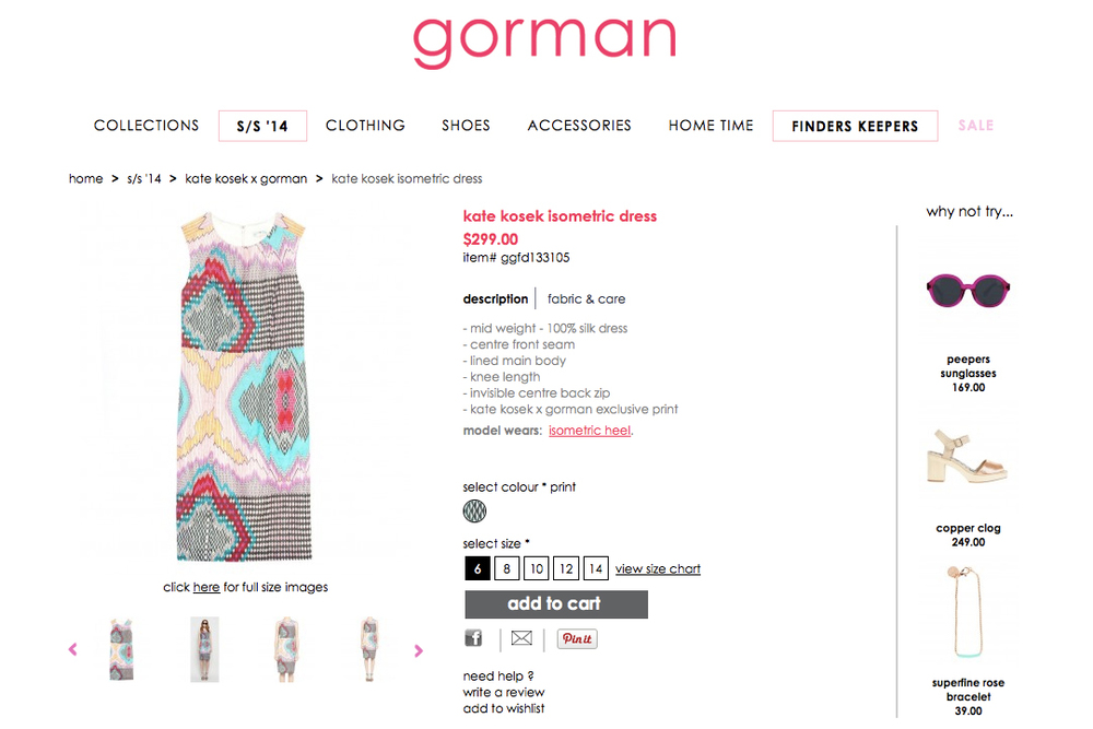 GORMAN X KATE KOSEK: ISOMETRIC DRESS