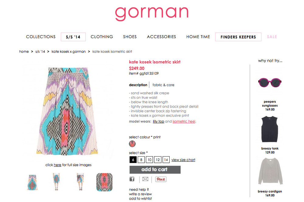 GORMAN X KATE KOSEK: ISOMETRIC SKIRT