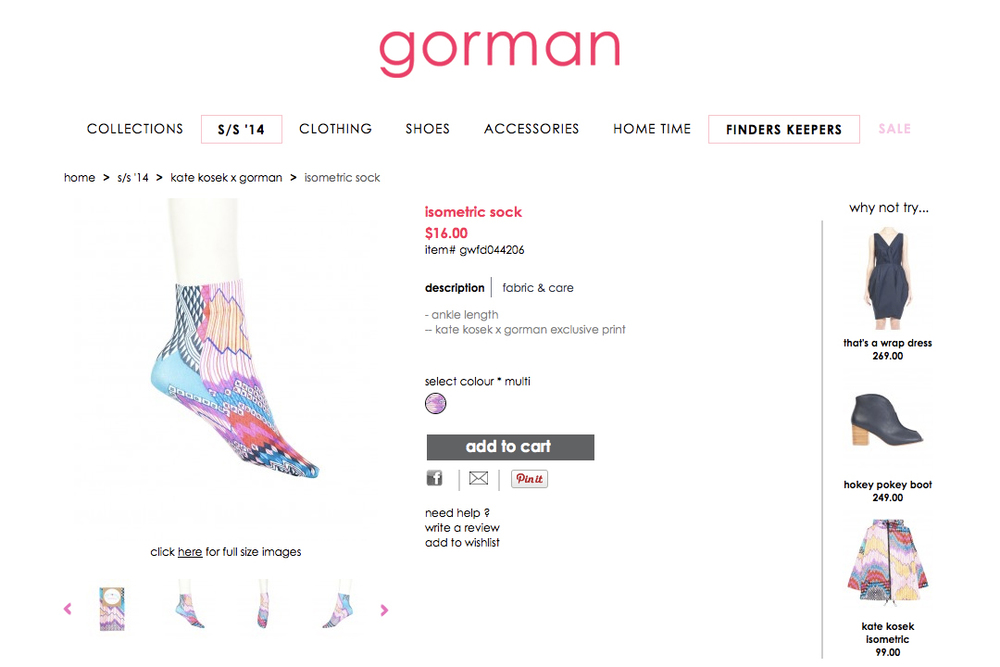 GORMAN X KATE KOSEK: ISOMETRIC SOCK