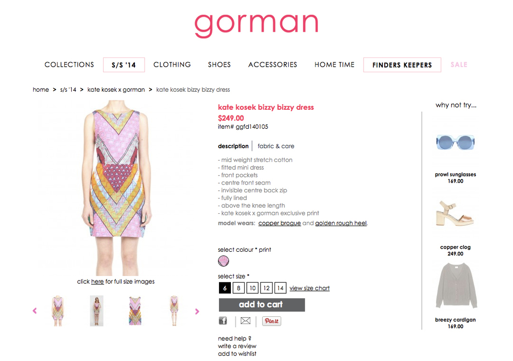 GORMAN X KATE KOSEK: BIZZY BIZZY DRESS