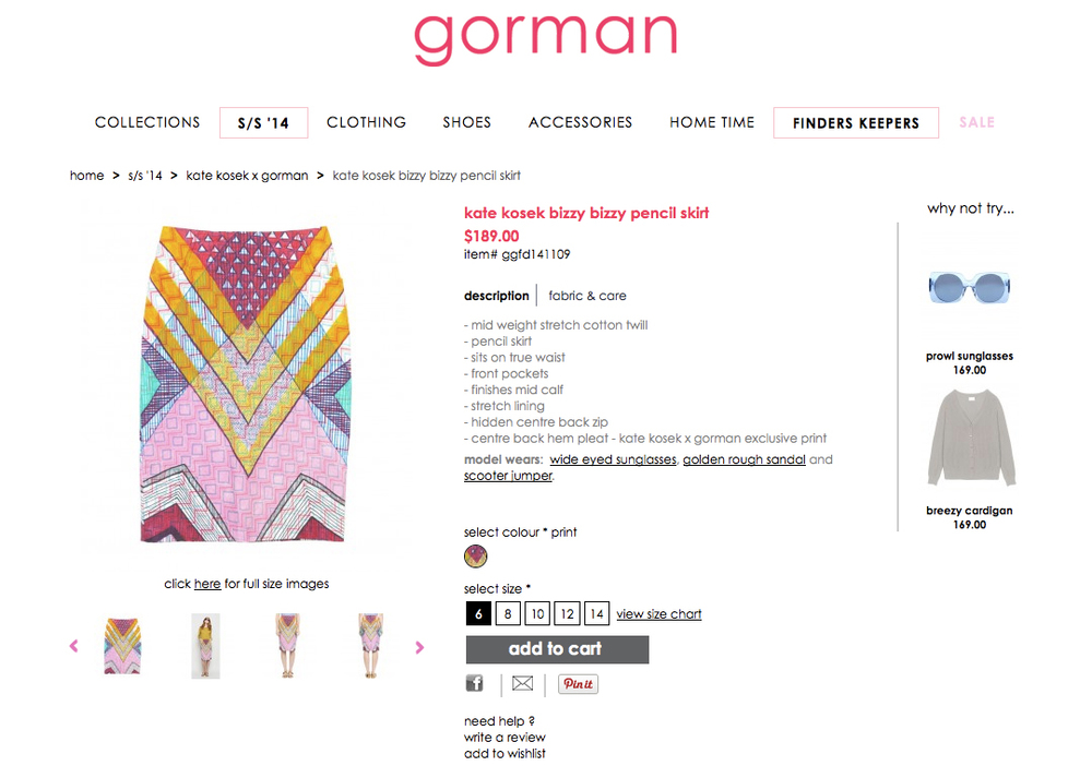 GORMAN X KATE KOSEK: BIZZY BIZZY PENCIL SKIRT