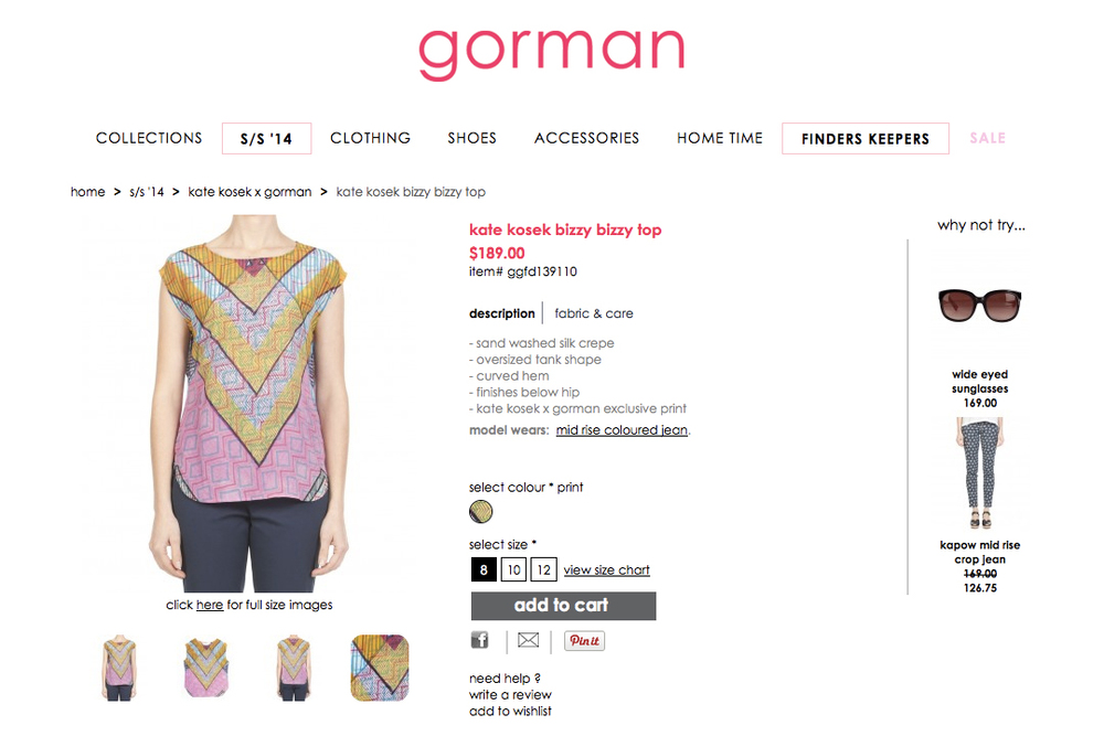GORMAN X KATE KOSEK: BIZZY BIZZY TOP