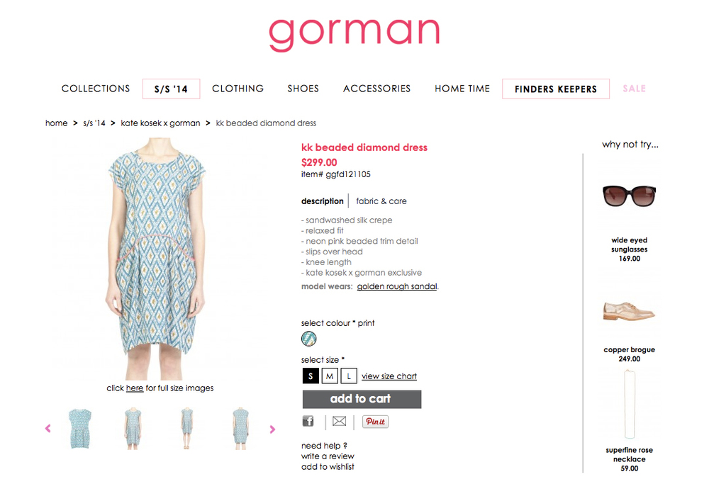 GORMAN X KATE KOSEK: DIAMOND BEADED DRESS