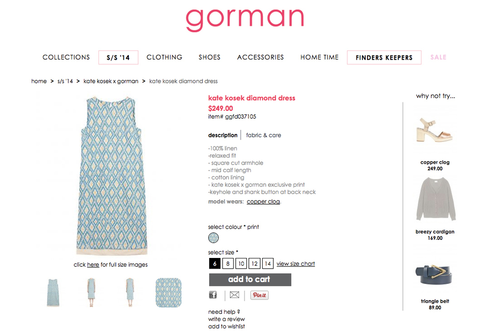 GORMAN X KATE KOSEK: DIAMOND DRESS