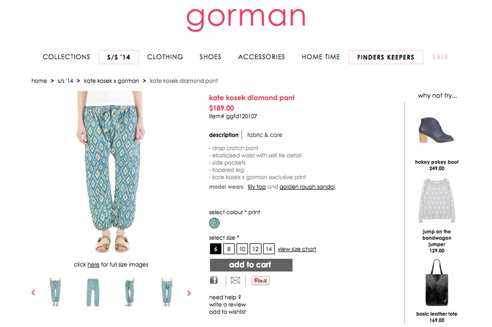 GORMAN X KATE KOSEK: DIAMOND PANT