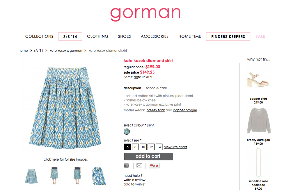 GORMAN X KATE KOSEK: DIAMOND SKIRT