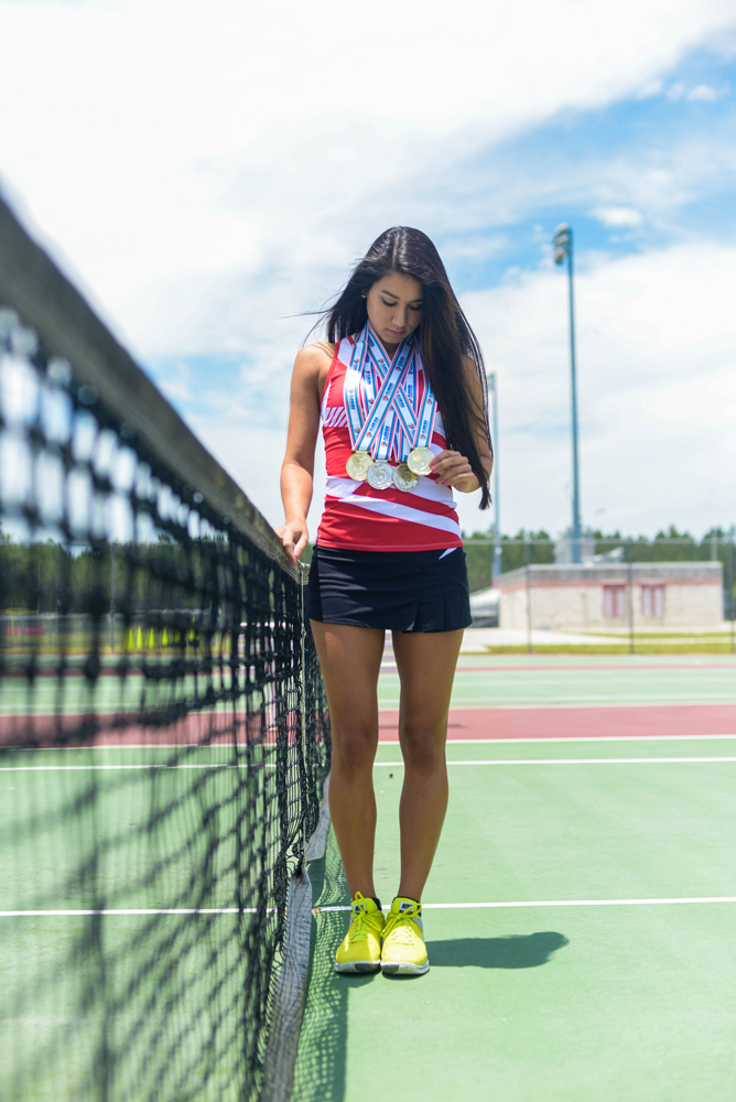 Alex M Sanchez  alex.sanchez@staugustine.com Marisa Ruiz, a senior at Creekside High School, poses during a photoshoot June 3 at the Creekside tennis courts. Ruiz is The Record's St. Johns County Girls Tennis Player of the Year. She has committed to Florida Atlantic University and will attend in the fall.