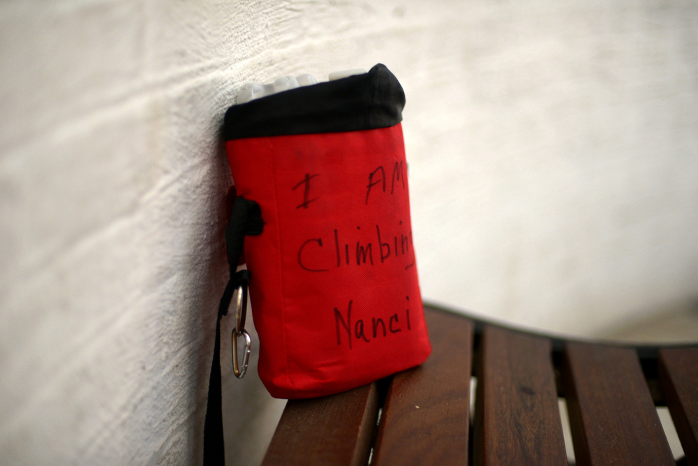 ALEX.SANCHEZ@STAUGUSTINE.COM Nanci Robinson's red climbing bag sits on the bench at the bottom of the St. Augustine Lighthouse on August 12, 2014.