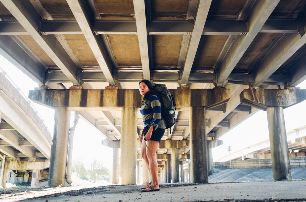 I pose for a self portrait under the interstate after arriving in Baton Rouge Louisiana.