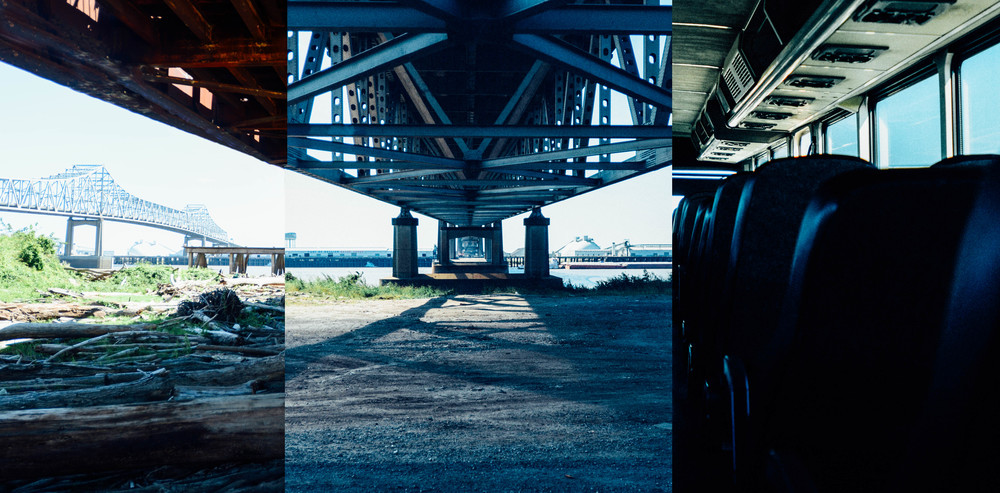 A quick composite image of three different scenes with one vanishing point. Created from two different bridges and on bus.