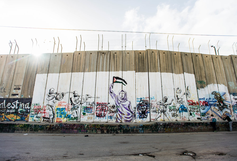 The wall that divides Israel and the West Bank in Bethlehem.