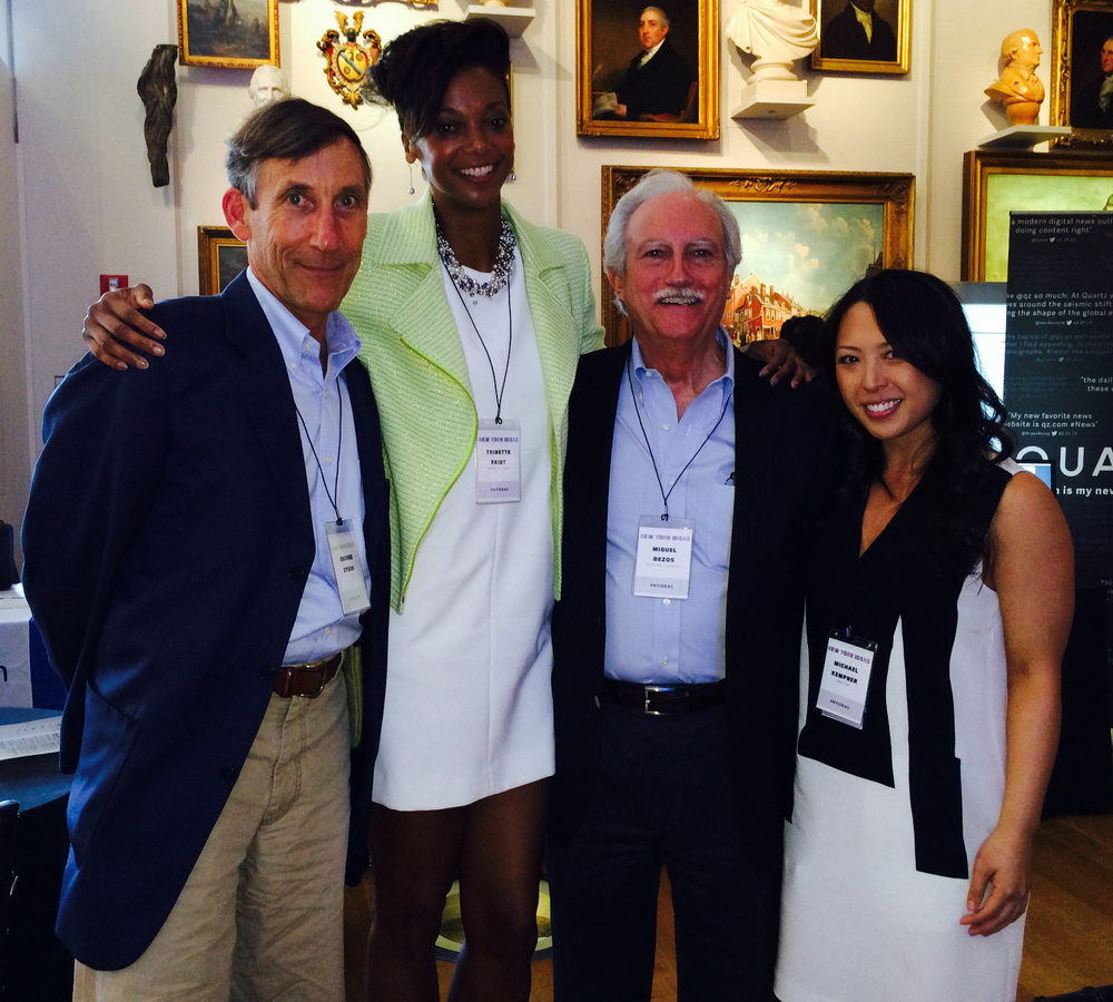 With George Dyson, Miguel (Mike) Bezos–father of Jeff–of the Bezos Family Foundation and The Aspen Institute's Sharon Yang.