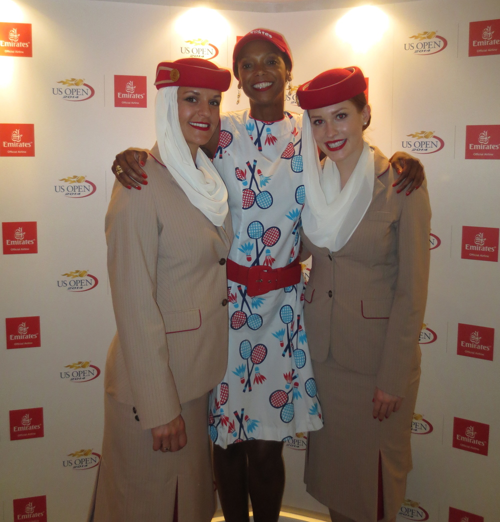 With Emirates flight attendants.