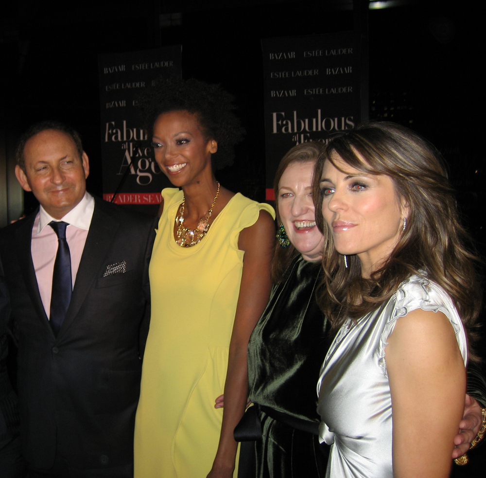 Trinette with John Demsey, Executive Group President, The Estee Lauder Companies, Glenda Bailey, Editor in chief, Harper's Bazaar and actress Elizabeth Hurley.