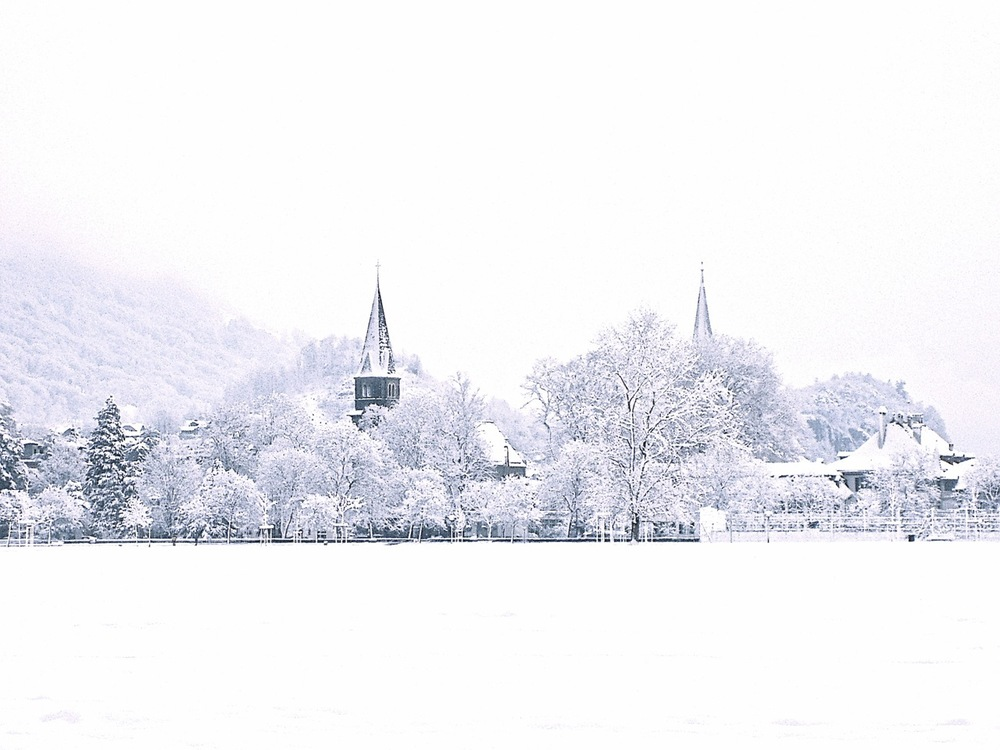 Snow. White. Interlaken. Switzerland.