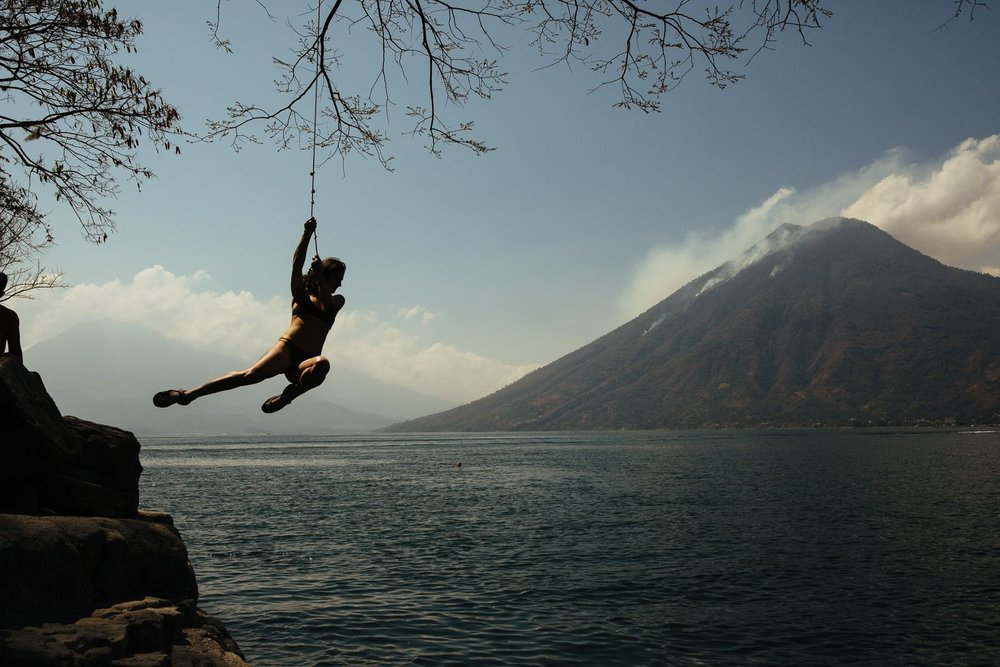 My favorite day of the trip - relaxing by the water and jumping into the lake surrounded by volcanos. Photo by  Mason
