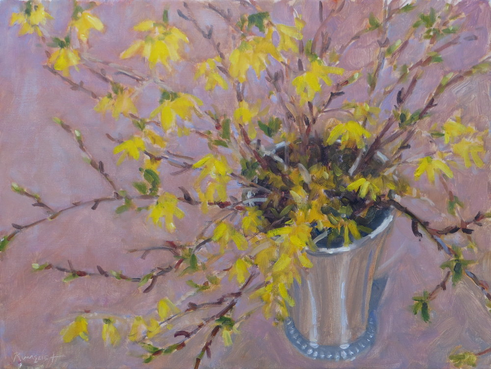 Forsythia in the Silver Bucket