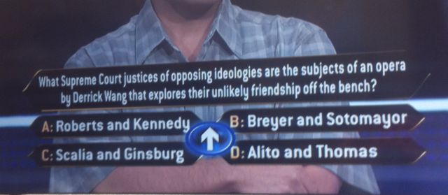 'Scalia/Ginsburg' on 'Who Wants to Be a Millionaire'
