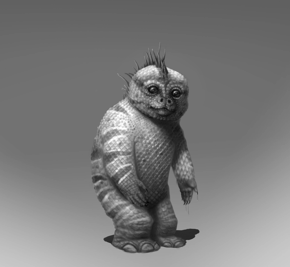 Scale + hands and feet study! The overall shape of the character was provided in the class, I didn't put it here because I am unsure I can, even if it's for review purposes. I tried to create a sloth/monkey scaly dude. I was pretty fun!
