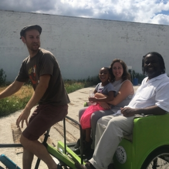 Some of my favorite people taking a pedicab ride during the event on Saturday!