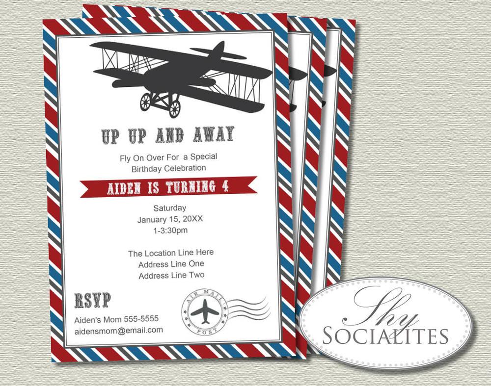 Vintage Airplane Invitation — Shy Socialites
