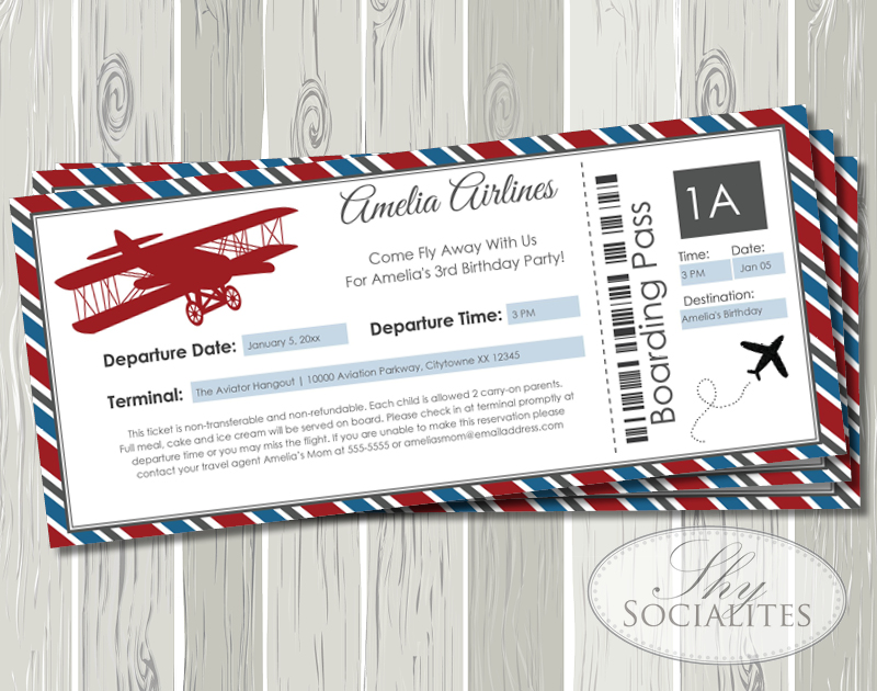 Vintage Airplane Boarding Pass Invitation Shy Socialites
