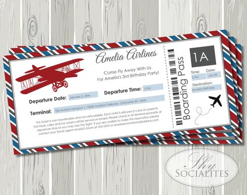 Vintage Airplane Boarding Pass Invitation Shy Socialites