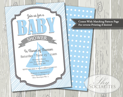 Blue Nautical Sailboat Baby Shower Invitation