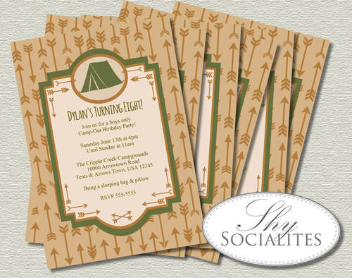 tent arrows camping invitation shy socialites