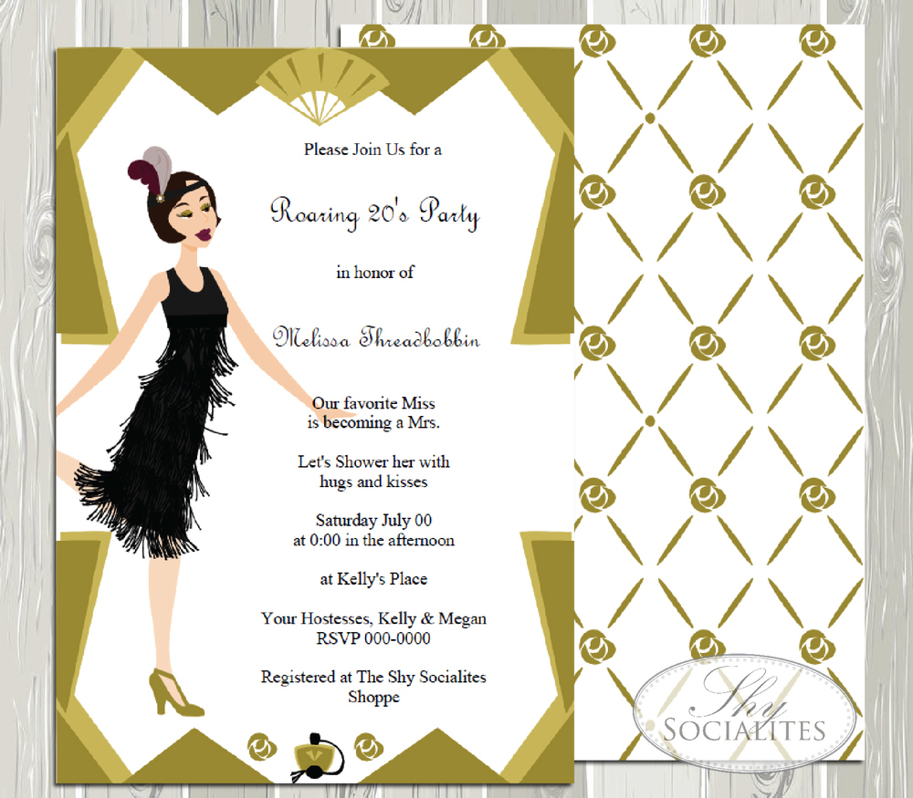 Art Deco Flapper Girl Roaring 20s Party Invitation Shy Socialites