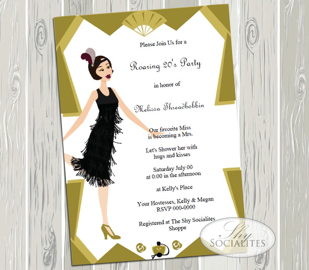 Art Deco Flapper Girl Roaring 20s Party Invitation — Shy Socialites