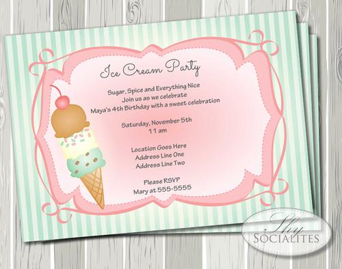 old fashioned ice cream party invitation shy socialites