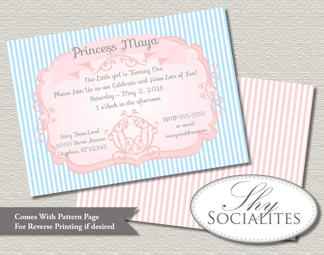 Blue And Pink Princess Carriage Invitation Shy Socialites