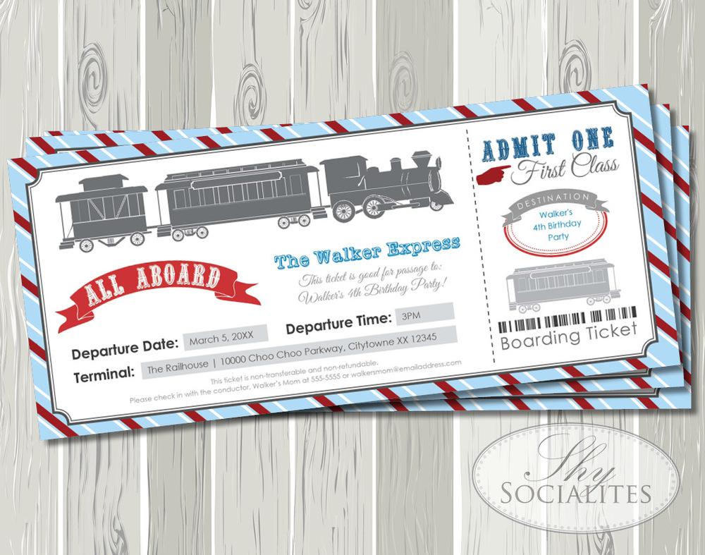 Blue Red Railroad Train Boarding Pass Ticket Invitation Shy