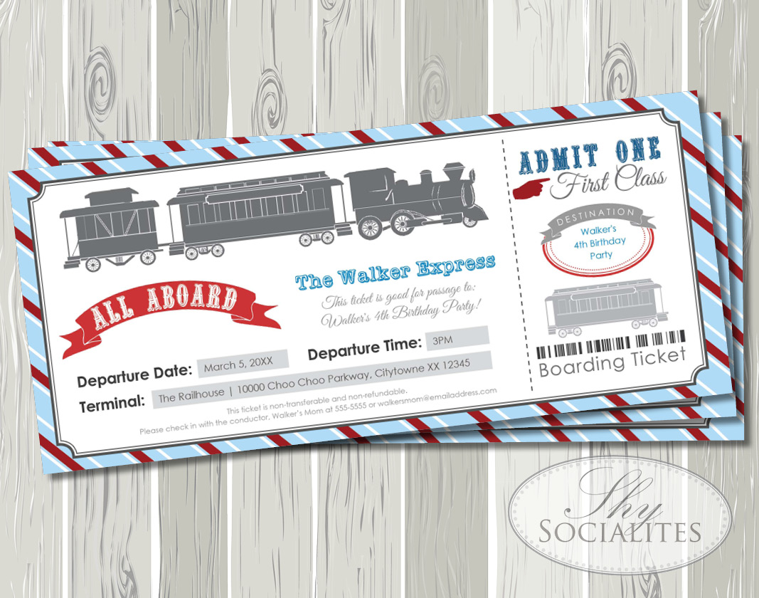 Blue Red Railroad Train Boarding Pass Ticket Invitation Shy