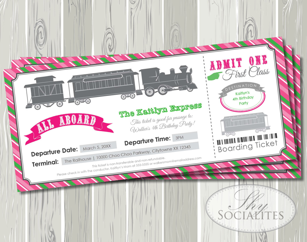 Pink & Green Railroad Train Ticket Boarding Pass Invitation — Shy ...