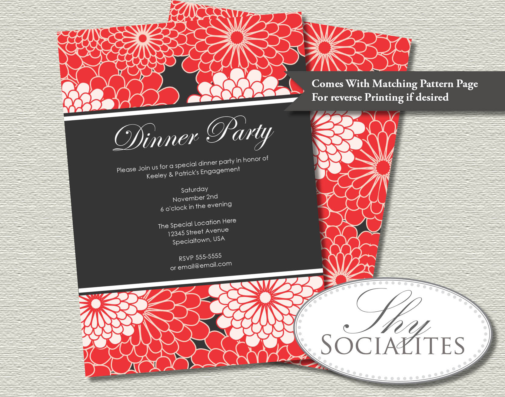 Red & Black Dahlia Floral Invitation — Shy Socialites