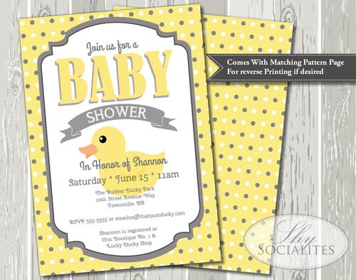 Rubber Ducky Baby Shower Invitation Shy Socialites