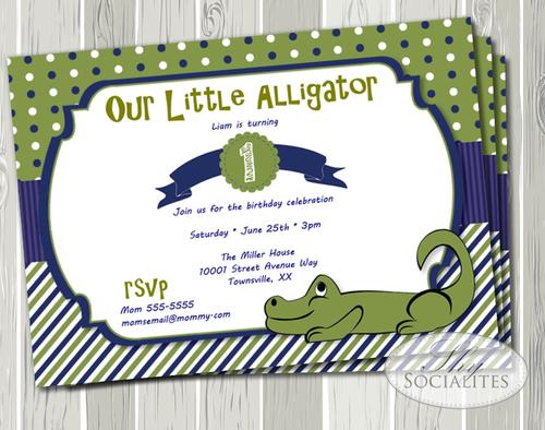 Alligator Birthday Party Invitation Shy Socialites
