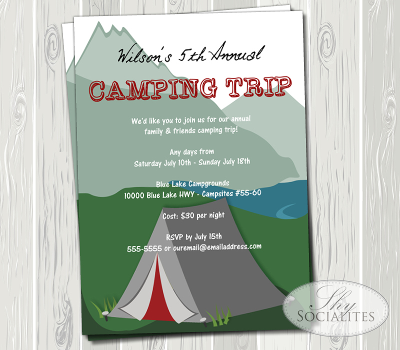 Camping Invitation Shy Socialites