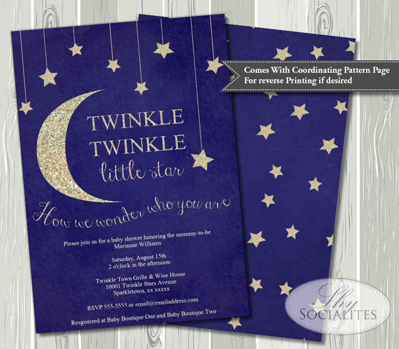 Twinkle Twinkle Little Star Baby Shower Invitation Shy Socialites