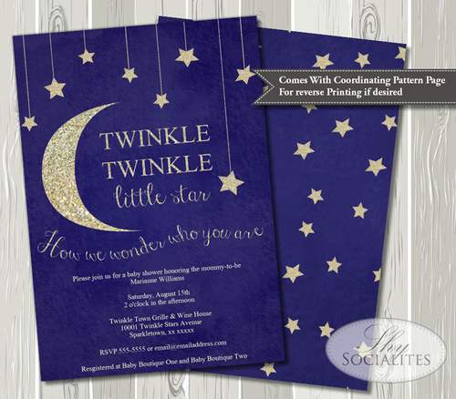 twinkle twinkle little star baby shower invitation — shy socialites, Baby shower invitations