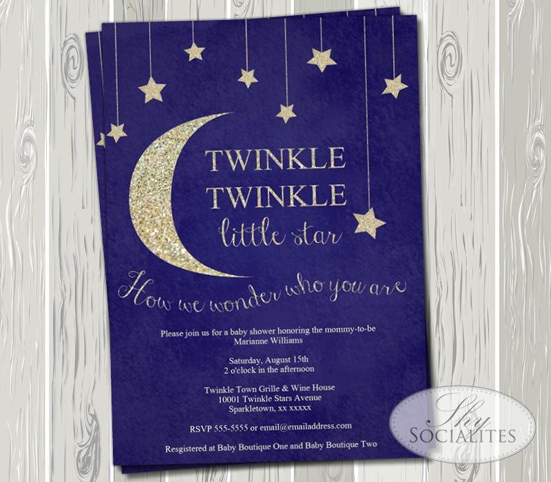 Twinkle Twinkle Little Star Baby Shower Invitation Shy Socialites