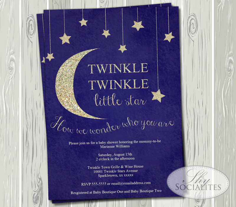 Twinkle Twinkle Little Star Baby Shower Invitation Shy Socialites - Save the date baby shower email template free