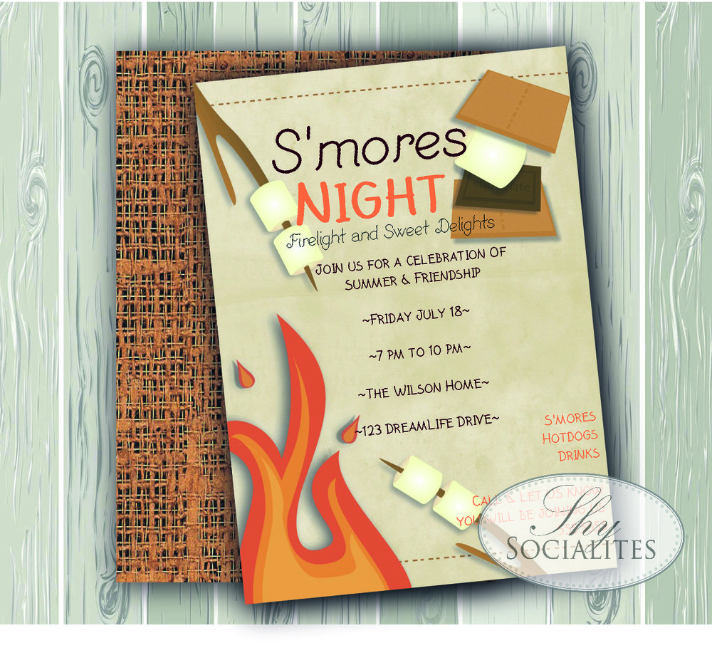 Smores Night Invitation Shy Socialites