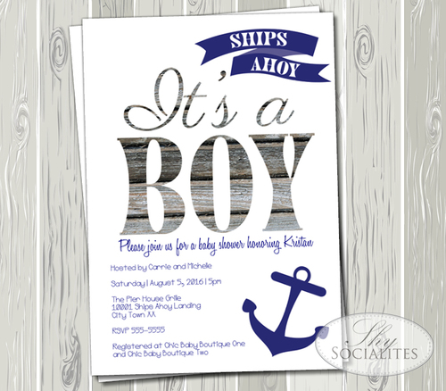 Ships Ahoy It S A Boy Nautical Baby Shower Invitation Shy Socialites
