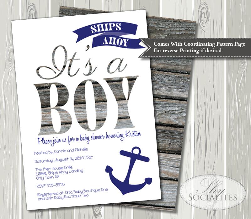 Ships Ahoy Its a Boy Nautical Baby Shower Invitation Shy Socialites